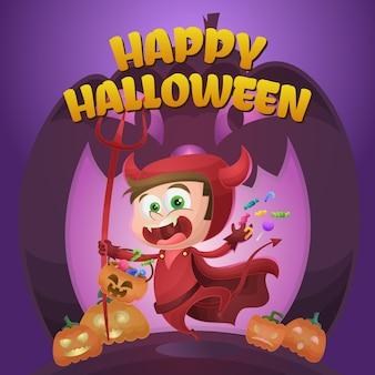 Feliz saludo de halloween con niño disfrazado de diablo