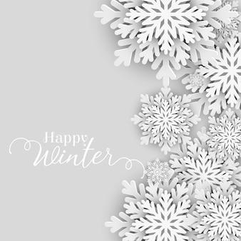 Feliz saludo de invierno con copos de nieve