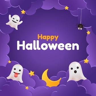 Feliz saludo de redes sociales de halloween. fantasmas, estrellas, nubes. marco lindo morado.
