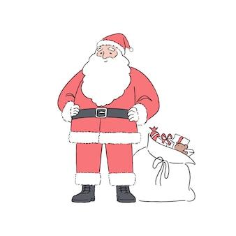 Feliz santa claus de pie con fondo blanco, ilustración de estilo de arte de línea dibujada a mano.
