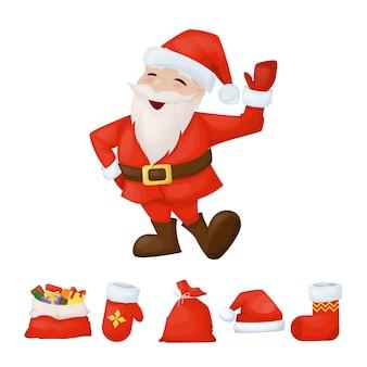 Feliz santa claus sonriendo feliz personaje de dibujos animados de vacaciones de navidad