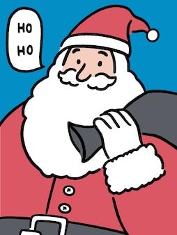 Feliz santa dice ho ho, tarjeta de felicitación de navidad, concepto de vacaciones, ilustración de estilo de arte de línea dibujada a mano.