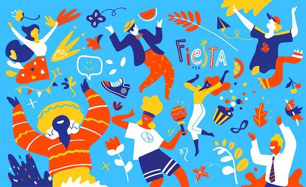 Feliz sonriente bailando personajes de dibujos animados masculinos y femeninos divirtiéndose y disfrutando de la fiesta de cumpleaños o celebración navideña