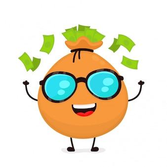 Feliz sonriente bolsa divertida con dinero con gafas de sol. ilustración de personaje de dibujos animados de estilo plano moderno. aislado sobre fondo blanco. concepto de bolsa de dinero