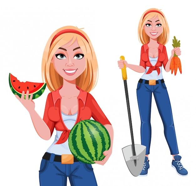 Feliz sonriente chica de granja, conjunto de dos poses