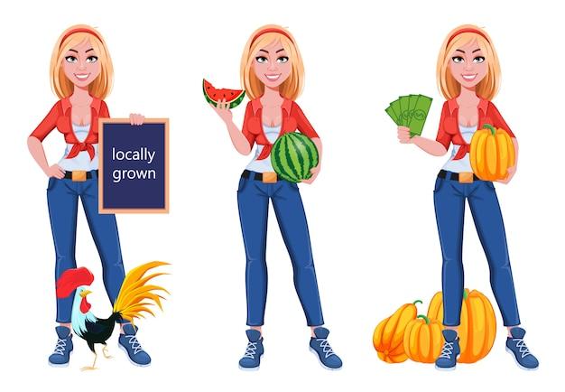 Feliz sonriente chica de granja, conjunto de tres poses