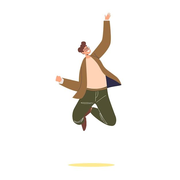 Feliz sonriente empresario saltando aislado