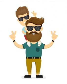 Feliz sonriente hipster padre e hijo