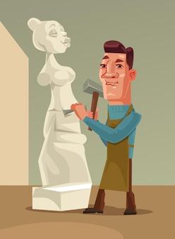 Feliz sonriente hombre escultor personaje creando mujer de piedra