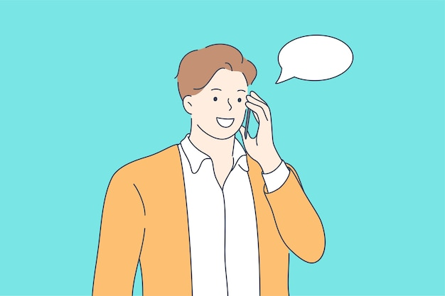 Feliz sonriente joven hombre muchacho adolescente estudiante personaje de dibujos animados hablando de comunicarse en el teléfono inteligente