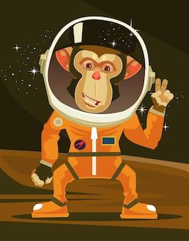 Feliz sonriente mono astronauta en traje espacial, ilustración de dibujos animados plana