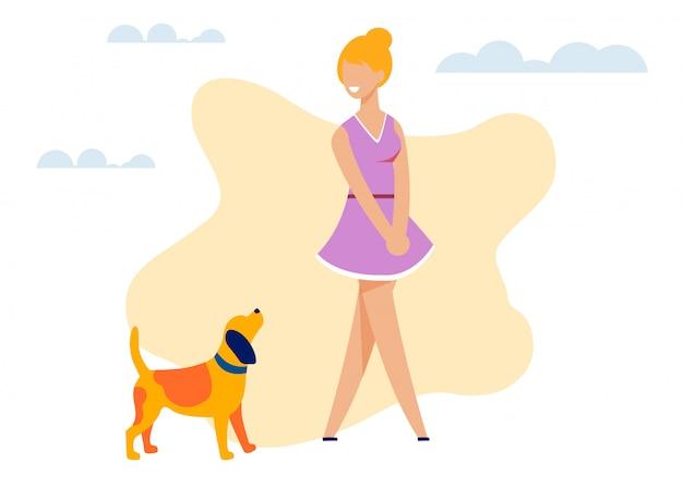Feliz sonriente mujer bonita y dibujos animados de recorte de perro