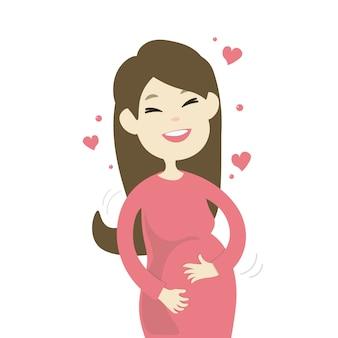 Feliz sonriente mujer embarazada