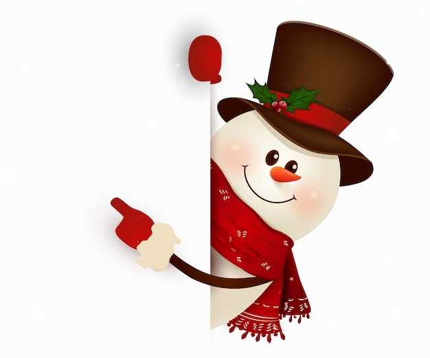 Feliz sonriente muñeco de nieve de pie detrás de un cartel en blanco que muestra un gran cartel en blanco. personaje de muñeco de nieve de dibujos animados con espacio de copia en blanco. ilustración.