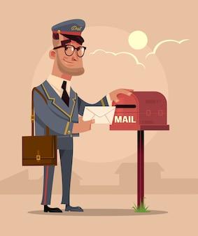 Feliz sonriente personaje de cartero poner carta de sobre en el buzón de correo de la casa. servicio de entrega