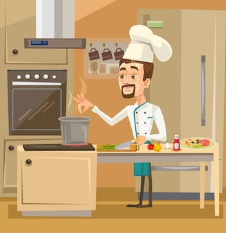 Feliz sonriente personaje de chef en la cocina preparando comidas.