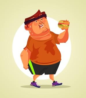 Feliz sonriente personaje de hombre gordo comiendo hamburguesa después de la actividad deportiva de cardio. ilustración de dibujos animados plano de vector