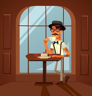 Feliz sonriente personaje de hombre inconformista comiendo pastel y bebiendo café por la mañana en la cafetería.