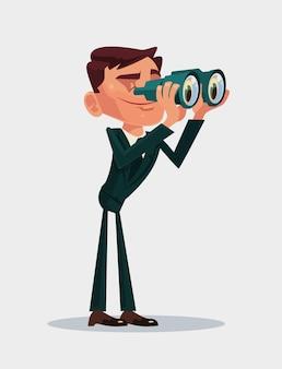 Feliz sonriente personaje de mascota de trabajador de oficina empresario mira futuro a través de binoculares. ilustración de dibujos animados plana