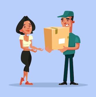 Feliz sonriente personaje de mensajero de hombre de entrega que entrega el pedido de compras de caja en línea y da al cliente