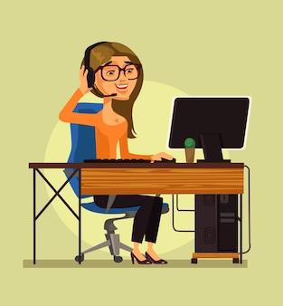 Feliz sonriente personaje de mujer de operador de call center hablando por teléfono y dando consulta soporte en línea de línea directa