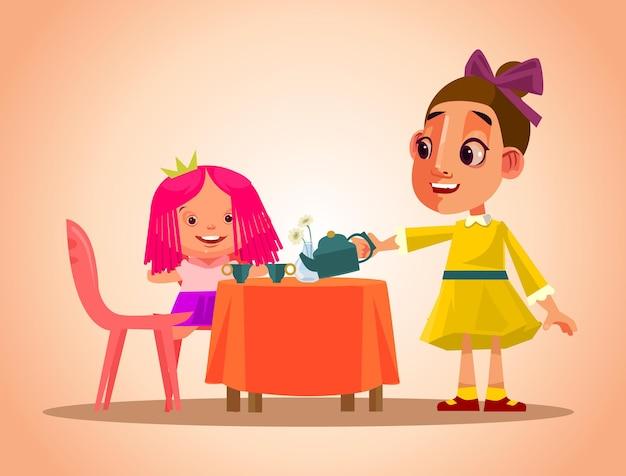 Feliz sonriente personaje de niña jugar té y cuidar su muñeca. dibujos animados