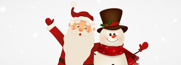 Feliz sonriente santa claus y lindo muñeco de nieve con letrero, banner publicitario. personaje de dibujos animados de santa claus con espacio de copia en blanco. fondo de navidad. ilustración.