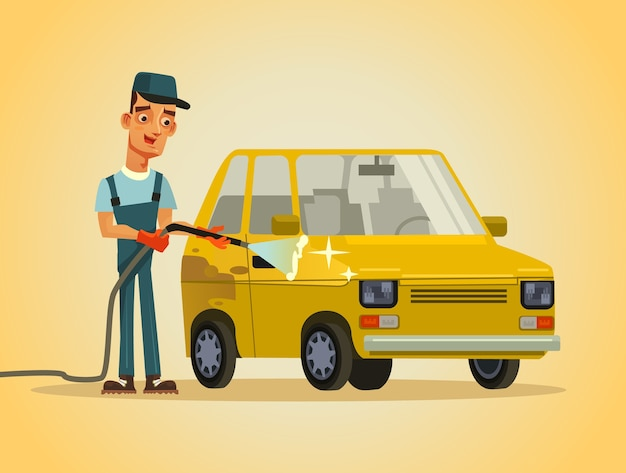Feliz sonriente trabajador militar arandela hombre carácter lavado automóvil automóvil con manguera espuma agua pulverización auto estación de servicio lavado de autos concepto ilustración