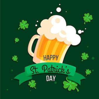 Feliz st. día de patricio con jarra de cerveza y trébol