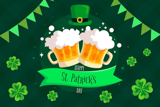 Feliz st. día de patricio con jarras de cerveza y trébol