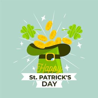 Feliz st. día de patricio con monedas en sombrero