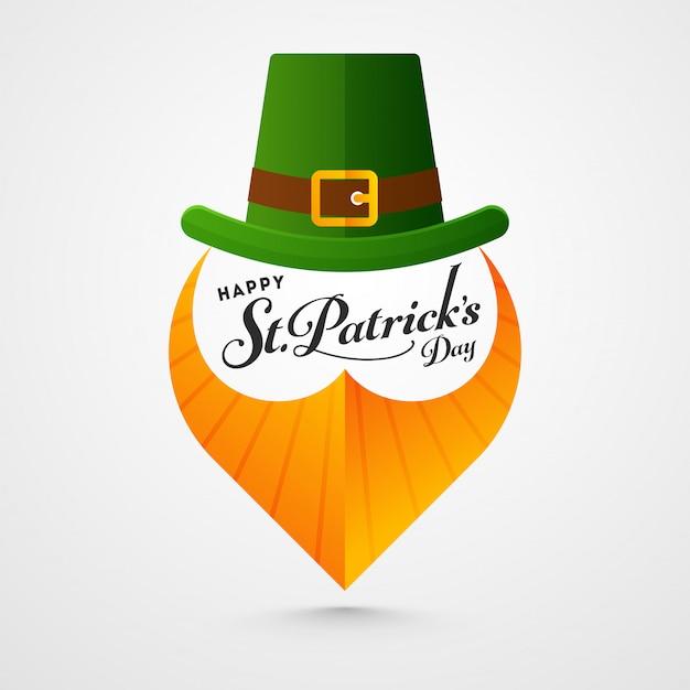 Feliz st. tarjeta del día de patricks con sombrero de duende y barba de papel naranja sobre blanco