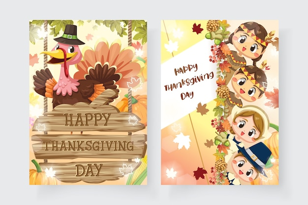 Feliz tarjeta de acción de gracias con niño, mujer, pavo y cartel de madera