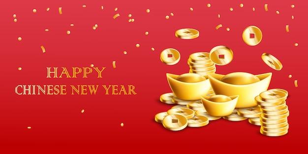 Feliz tarjeta de año nuevo chino con lingotes de oro y monedas de oro