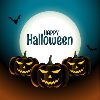 Feliz tarjeta de calabazas de miedo de halloween con luna y murciélagos