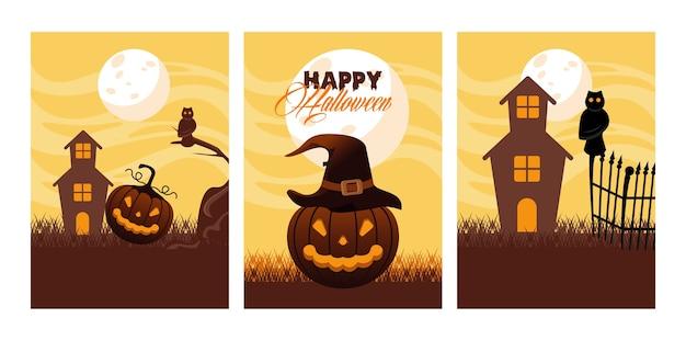 Feliz tarjeta de celebración de halloween con calabazas y escenas de casas embrujadas ilustración vectorial