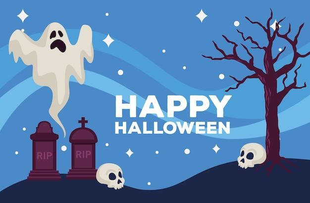 Feliz tarjeta de celebración de halloween con fantasma en la escena del cementerio, diseño de ilustraciones vectoriales