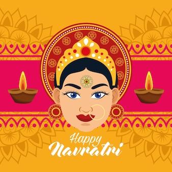 Feliz tarjeta de celebración navratri con hermoso marco de diosa y velas