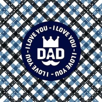 Feliz tarjeta de felicitación del día del padre con fondo de patrón