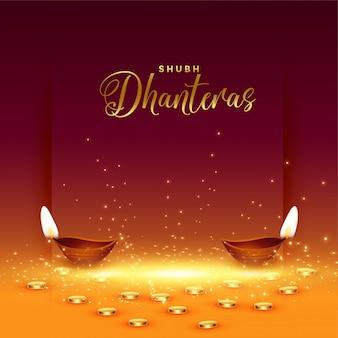 Feliz tarjeta de dhanteras con monedas de oro y diya