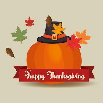 Feliz tarjeta del día de acción de gracias saluda a peregrino y sombrero de calabaza hojas