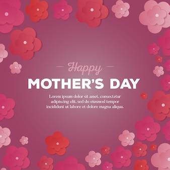 Feliz tarjeta del día de las madres con flores de papel