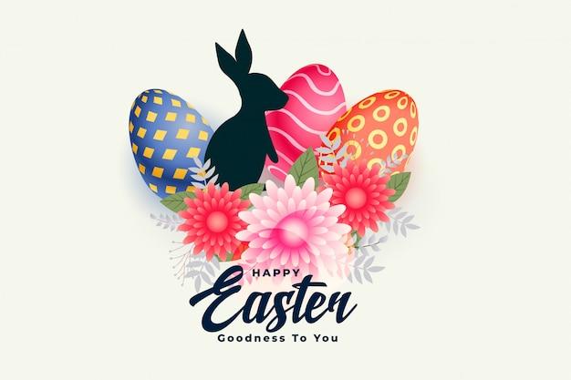 Feliz tarjeta del día de pascua con flor de conejo y huevos
