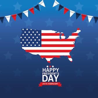 Feliz tarjeta del día de los presidentes con mapa y bandera de estados unidos