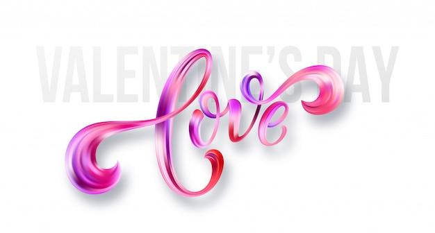 Feliz tarjeta del día de san valentín con amor escrito a mano. ilustración vectorial