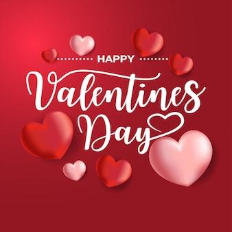 Feliz tarjeta del día de san valentín con globos en forma de corazón, vector
