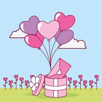 Feliz tarjeta del día de san valentín con globos de regalo y helio
