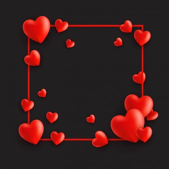 Feliz tarjeta del día de san valentín, marco con corazones en negro