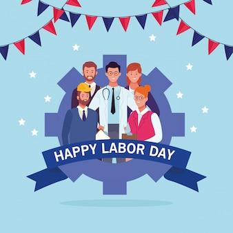 Feliz tarjeta del día del trabajo, vacaciones en estados unidos