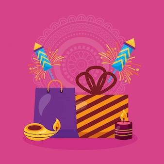 Feliz tarjeta de diwali con regalos y fuegos artificiales